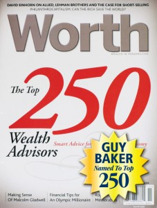 Worth Magazine names Guy Baker one of top 250 wealth advisors in the United States